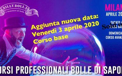 Corso professionale bolle di sapone a Milano 3-4-5 aprile 2020